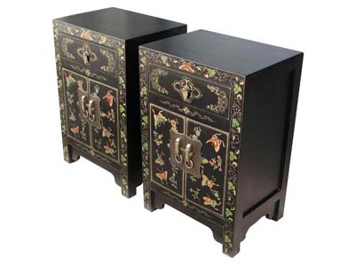 Pair small bed side cabinet chinese reproduction for Oriental reproduction furniture