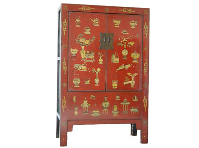 Red painted cabinet chinese reproduction furniture for Reproduction oriental furniture